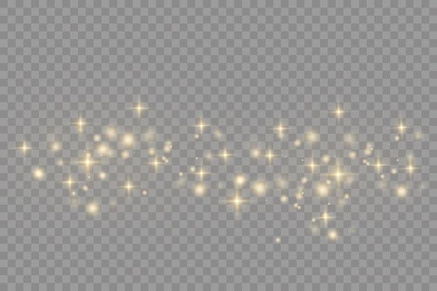 Pó amarelo efeito bokeh lindos flashes de luz partículas de poeira voam no espaço raios de luz horizontais listras brilhantes de poeira em um fundo escuro