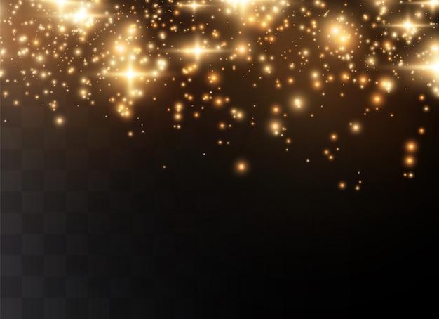 Pó cintilante e estrelas douradas