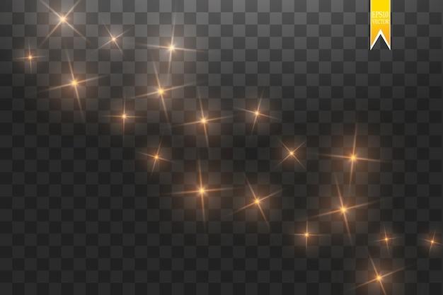 Pó de estrelas douradas trilha partículas cintilantes isoladas em fundo transparente. ilustração de onda de glitter dourados. conceito mágico