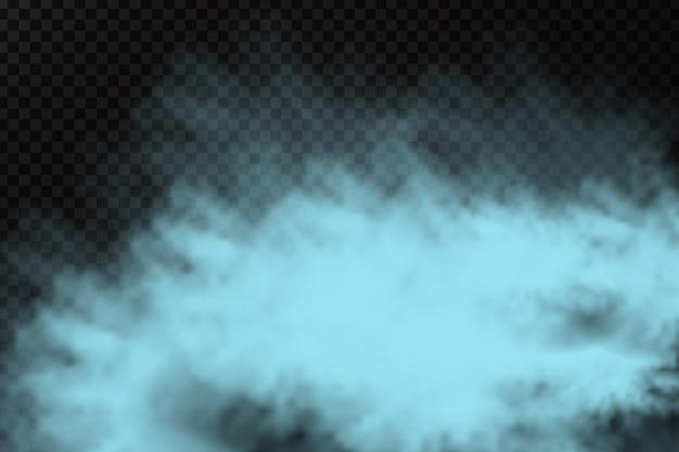 Pó de fumaça azul realista para decoração e cobertura no fundo transparente.