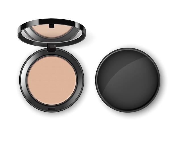 Pó de maquiagem cosmético facial em caixa de plástico redonda preta com vista superior do espelho isolada no fundo branco