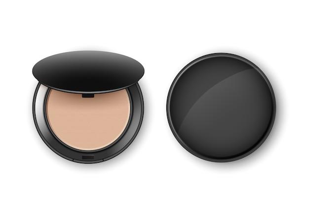 Pó de maquiagem cosmético facial em caixa plástica redonda preta, vista superior isolada