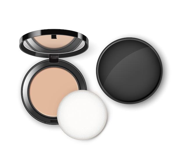 Pó de maquiagem cosmético facial em caixa plástica redonda preta