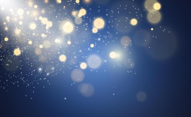 Pó de ouro brilhante vetor brilhar enfeites brilhantes brilhantes para ilustração vetorial de fundo