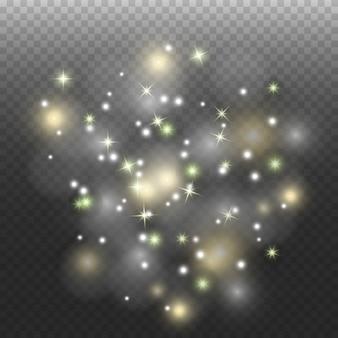 Pó do espaço, em um fundo transparente. estrela fascinante pisca, poeira brilhante.