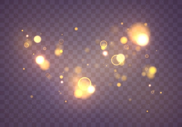 Pó mágico cintilante e partículas douradas. conceito mágico. efeito bokeh abstrato. glitter.
