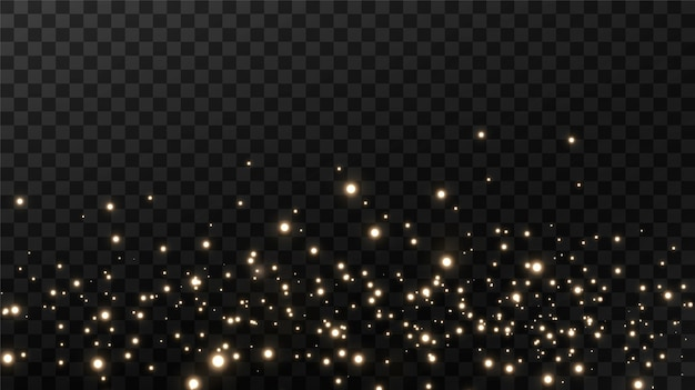 Pó mágico cintilante em fundo preto, partículas de pó dourado cintilante