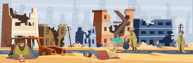 Pobres pessoas na cidade danificada. a guerra afetou pessoas, lares desfeitos e estradas. problemas de refugiados