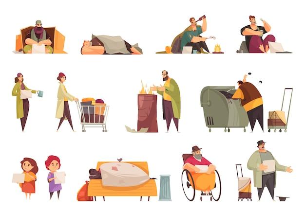 Pobres sem-teto implorando dinheiro, recolhendo alimentos de lixo dormindo ao ar livre plana ícones conjunto isolados