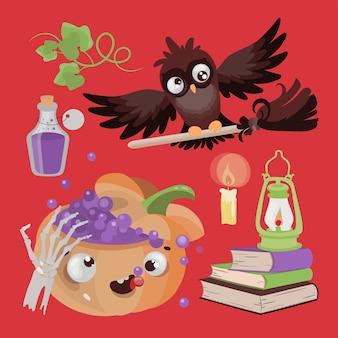 Poção de abóbora coruja halloween animal engraçado design plano desenho animado ilustração desenhada à mão