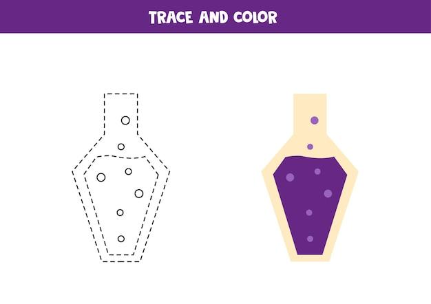 Poção de desenho de rastreamento e cor. planilha para crianças.