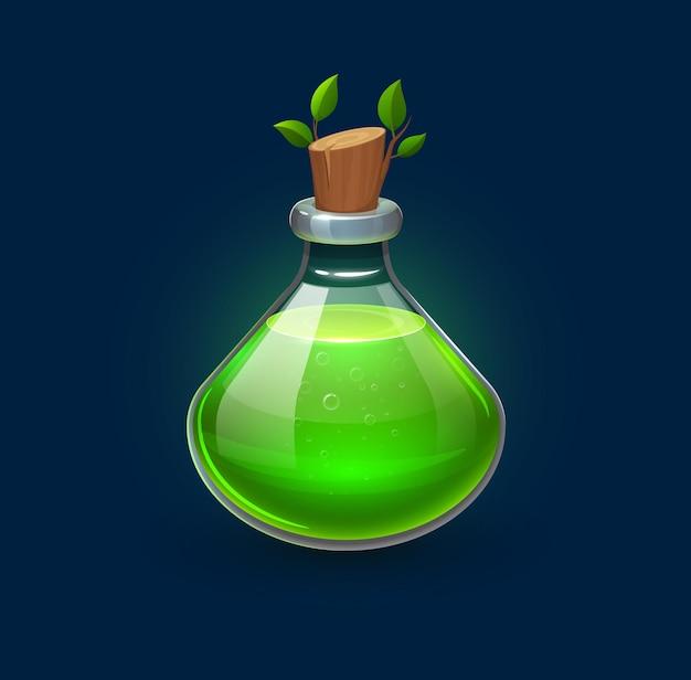 Poção de feitiçaria verde em garrafa, elixir de crescimento