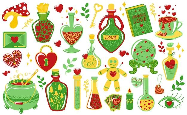 Poção do amor. elixir mágico do doodle. garrafas e frascos com bebidas alquímicas