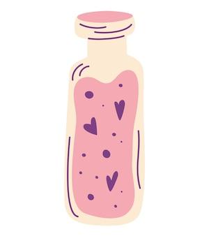 Poção do amor. frasco com corações. logotipo do elixir de amor. garrafa com poção mágica. decoração para menu ou cartão postal e cartaz para o feliz dia dos namorados ou halloween. ilustração em vetor plana isolada