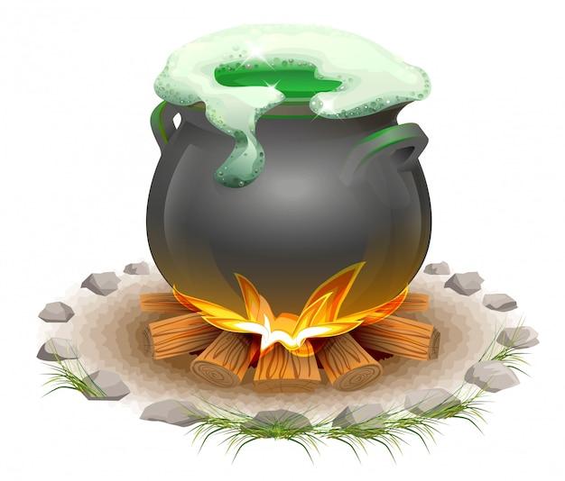 Poção mágica fabricada em panela. dia da cerveja mágica st patricks. panela cheia em chamas
