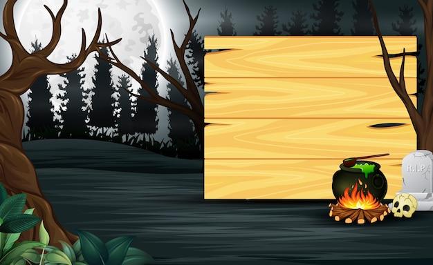 Poção na frente da placa de madeira com fundo de lua cheia
