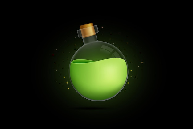 Poção verde em uma garrafa fechada com luz cintilante