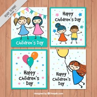Pochete de desenhos dia cartões das crianças