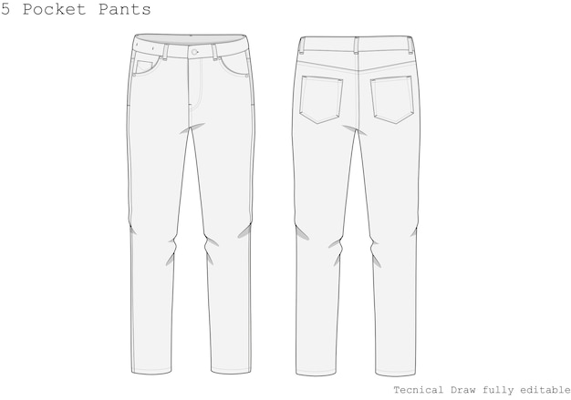 Pocket pants technical hand draw