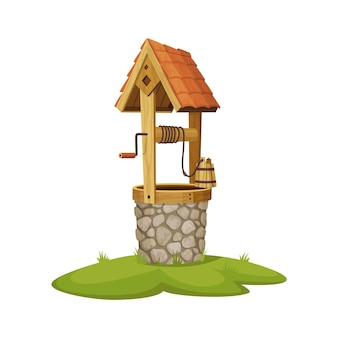 Poço de água antigo em pedra. poço de aldeia com corda, balde e elementos de madeira.