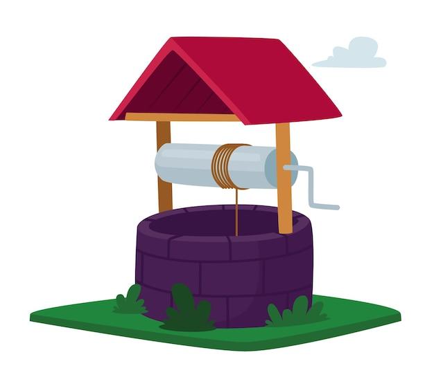 Poço de água com alça giratória, balde com corda, telhado de madeira e cerca de tijolo isolada