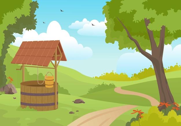 Poço de água de madeira na ilustração da floresta