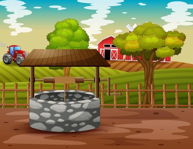 Poço de pedra com ilustração de paisagem de fazenda