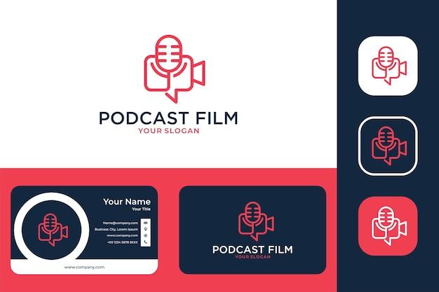 Podcast com design de logotipo de arte de linha de filme e cartão de visita