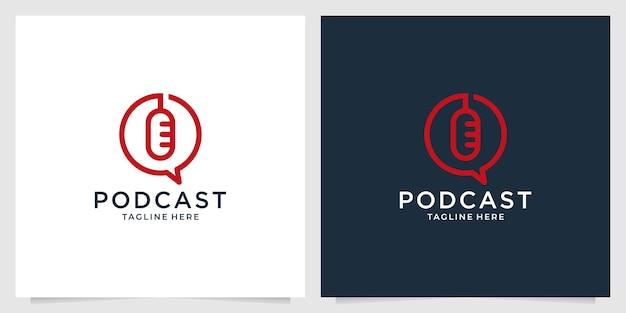 Podcast com design moderno de logotipo para chat