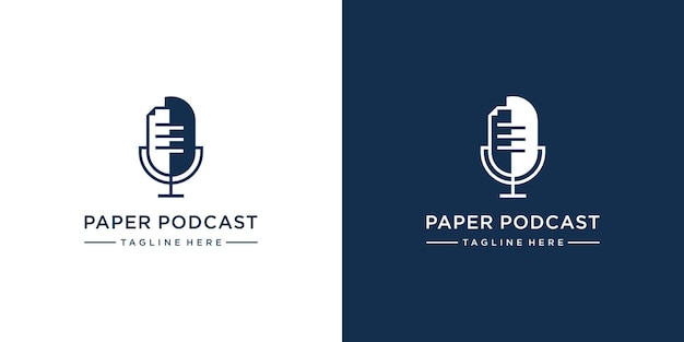 Podcast com modelo de logotipo em papel