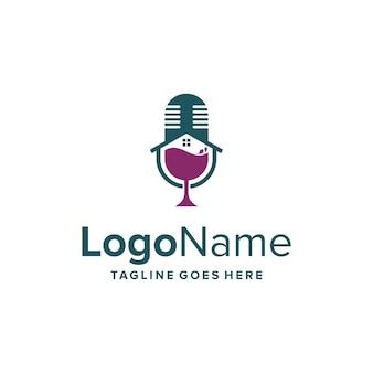 Podcast com taça de vinho e design de logotipo moderno simples e elegante e criativo