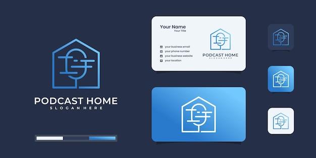 Podcast criativo com design de cartão de visita de inspiração de logotipo de casas