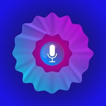 Podcast de áudio de onda sonora de microfone ai de reconhecimento de voz