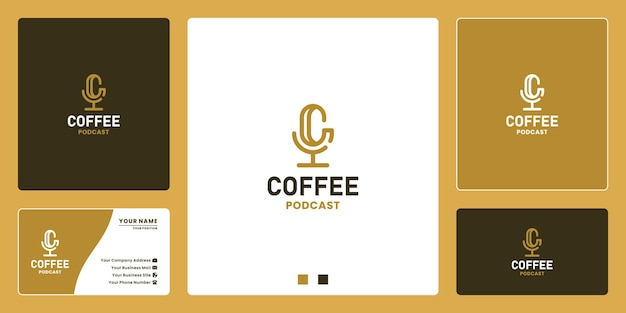 Podcast de letras c combinados com modelos de design de logotipo de café