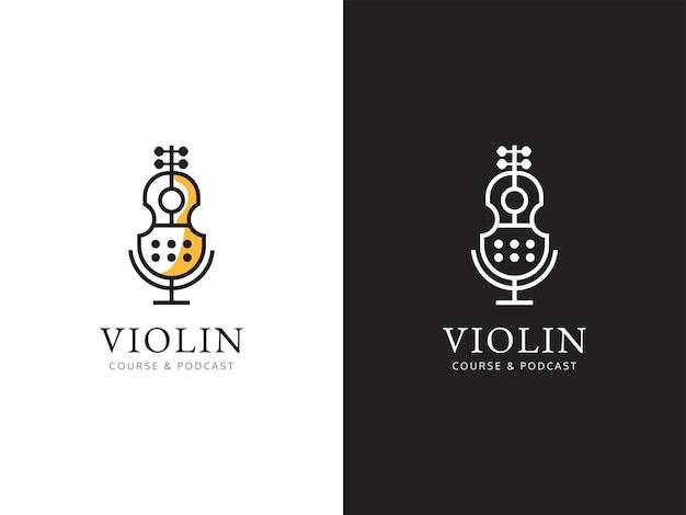 Podcast de música e conceito de design de logotipo do curso