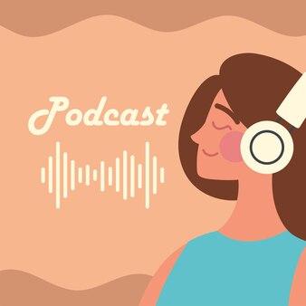 Podcast e mulher usando fones de ouvido