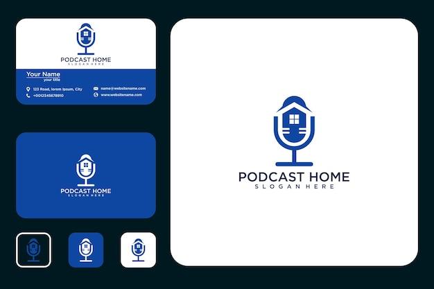 Podcast home logo design logo design e cartão de visita