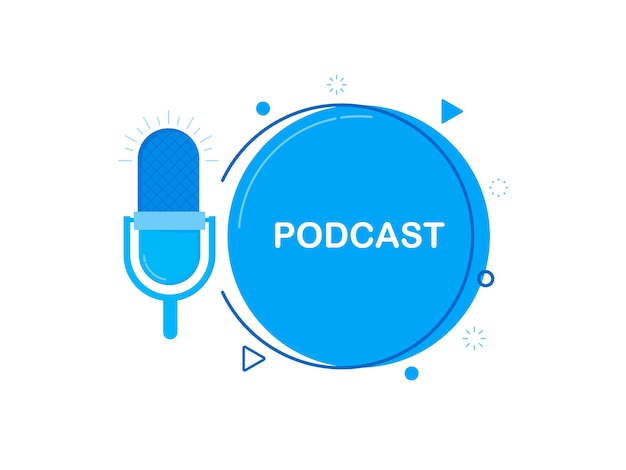 Podcast. ícone, design de logotipo.
