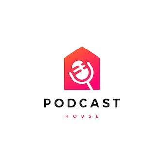 Podcast mic house home logo