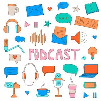 Podcast mostra ilustração de desenhos animados desenhados à mão com diferentes elementos de podcast