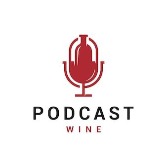 Podcast negative space com design de logotipo de garrafa de vinho