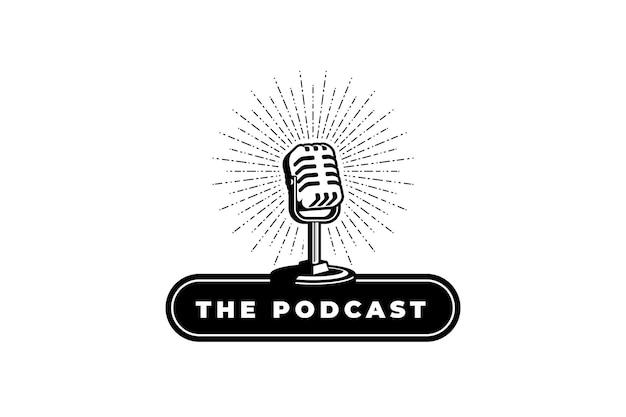 Podcast ou cantor de karaokê com microfone retrô elemento de design para logotipo de etiqueta emblema