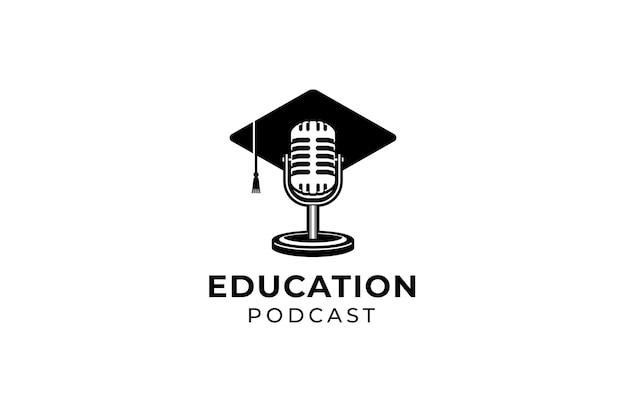 Podcast ou logotipo do curso de canto. microfone retrô usando ilustração de chapéu de toga.