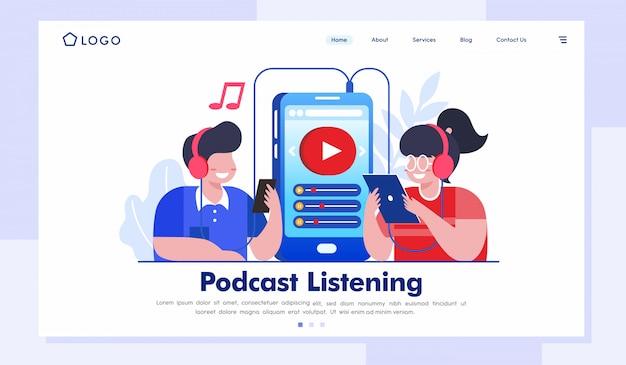 Podcast ouvindo página inicial ilustração site vector