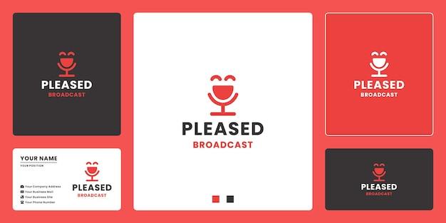 Podcast satisfeito, elemento de vetor de design de logotipo de conversa feliz