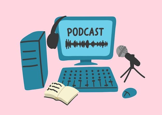 Podcast transmissão de edição de gravação digital de som