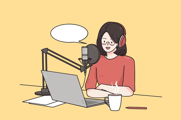 Podcaster fazendo conceito de tecnologia de blogger