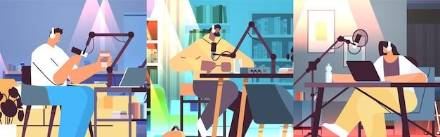 Podcasters sset mix race conversando com microfones gravando vídeo blog em estúdio podcasting rádio online transmissão ao vivo conceito full length horizontal