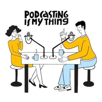 Podcasting é o que eu gosto de letras de vetores desenhados à mão podcast e conceito multitarefa