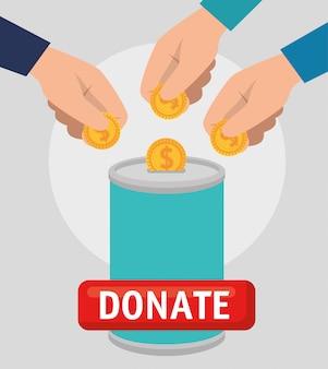 Pode com dinheiro para doação de caridade